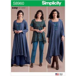 S8960 Misses' Dress Or Tunic, Skirt and Pant