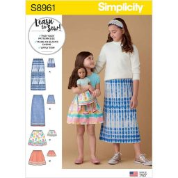 S8961 Children's, Girls', and Dolls' Skirts