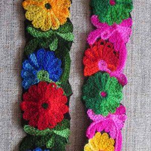 Chain embroidered flower braid (40mm)