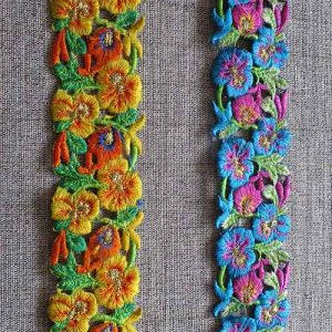 Metallic embroidered pansy braid (40mm)