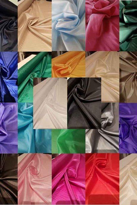 100% polyester Habutai lining (22 colours)