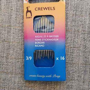 Pony brand crewel/embroidery needles (sizes 3-9)