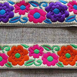 Vibrant flower pattern braid (30mm)
