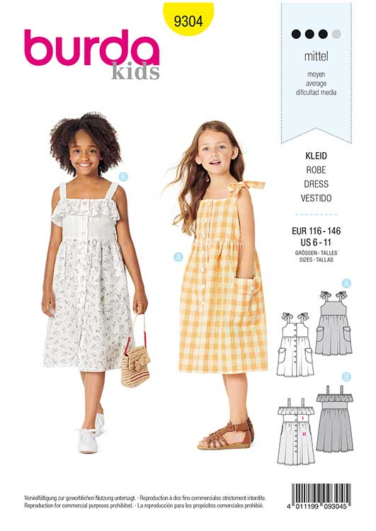 Burda Style Pattern 9304 Children's Pinafore Dress with Front Button Fastening