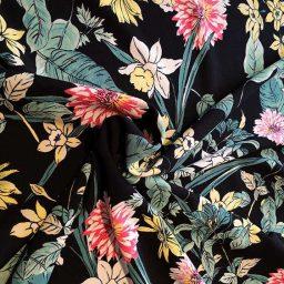 """Daffodil"" polyester stretch crepe (lemon/black)"