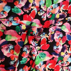 """Splash"" viscose print (multi-colour/black)"