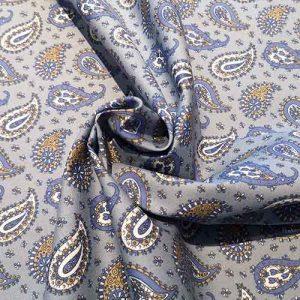 Cotton paisley print (grey/blue)