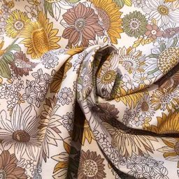 Cotton floral print (yellow/ochre)