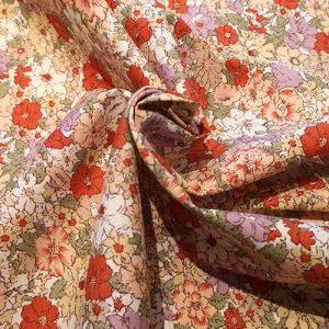 Cotton floral print (reds/oranges)