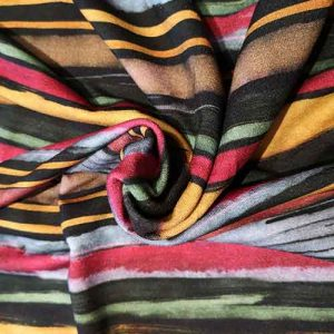 Horizontal stripe stretch viscose