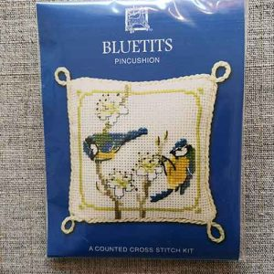 """Blue Tits"" Pin Cushion Cross Stitch Embroidery Kit"