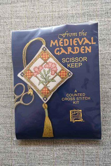"""Medieval Garden"" Scissor Keep Cross Stitch Embroidery Kit"