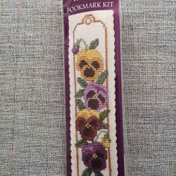 """""""Pansies"""" Bookmark Cross Stitch Embroidery Kit"""