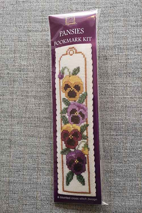 """Pansies"" Bookmark Cross Stitch Embroidery Kit"