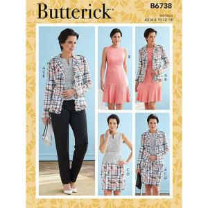 B6738 Misses' Jacket, Dress, Top, Skirt & Pants