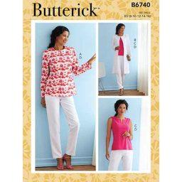 B6740 Misses' Jacket, Coat, Top & Pants