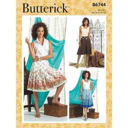 B6744 Misses' Pleated or Flared Skirts