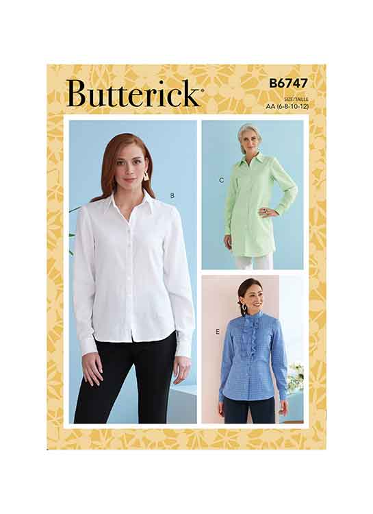 B6747 Misses' Button-Down Collared Shirts