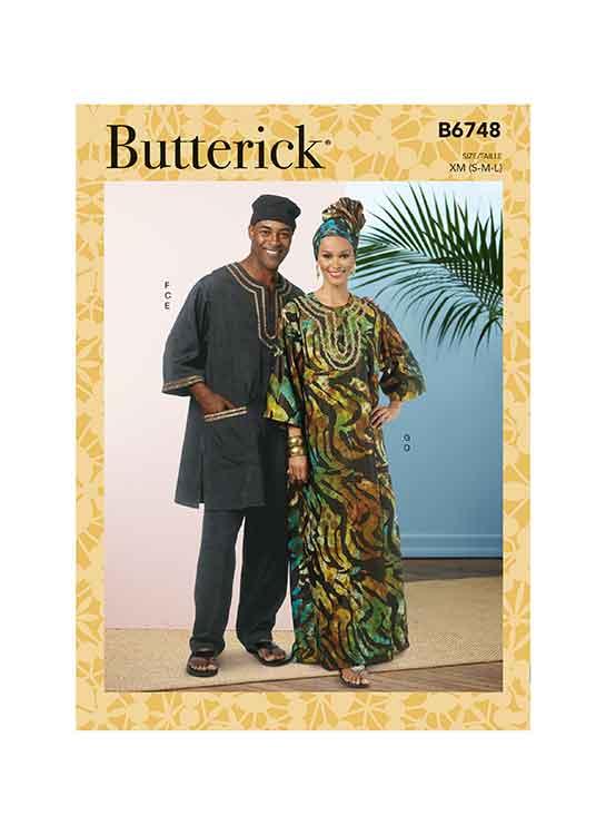 B6748 Misses'/Men's Tunic, Caftan, Pants, Hat and Head Wrap