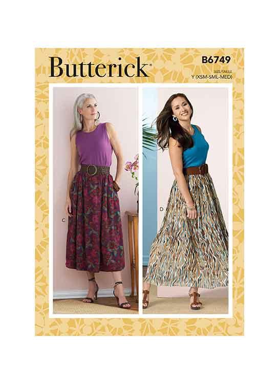 B6749 Misses' Gathered-Waist Skirts