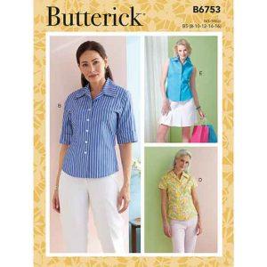 B6753 Misses'/Misses' Petite Button-Down Shirts