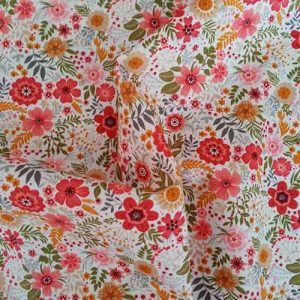 "Rose & Hubble 100% cotton poplin ""Floral Burst"" (ivory)"