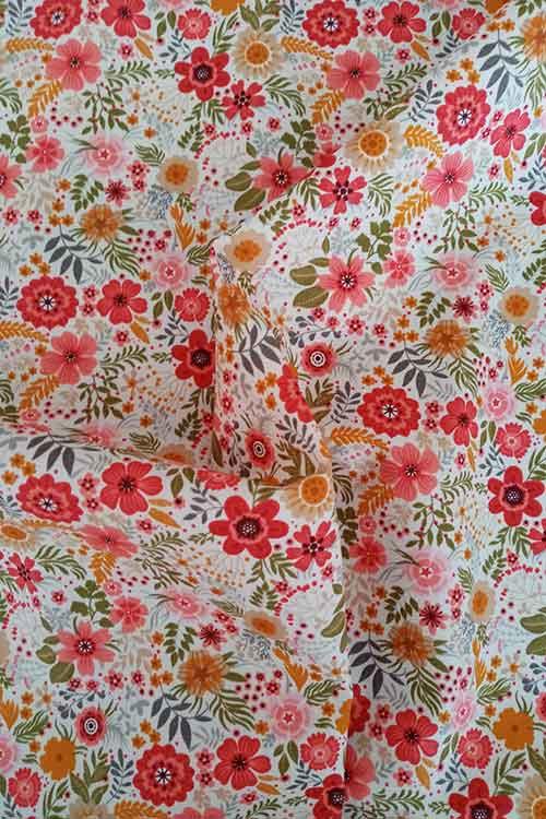 "Rose & Hubble 100% cotton poplin ""Floral Burst"" (ivory)"