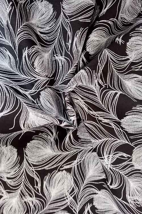 "Rose & Hubble 100% cotton poplin ""Plume"" (black)"