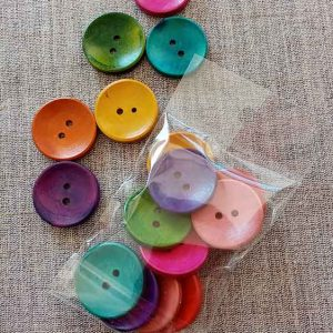 Decorative wooden craft buttons 30mm (mixed bag of 10)