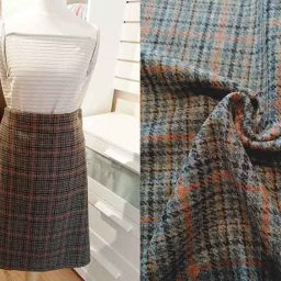 100% wool tweed (grey/amber plaid)