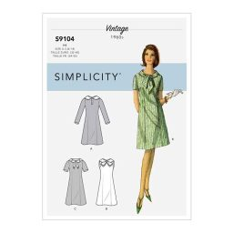 S9104 Misses' Vintage Dresses With Sleeve & Neckline Variation