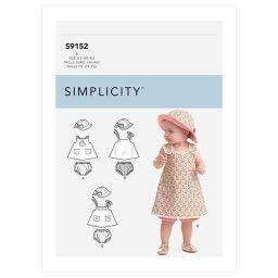S9152 Babies' Dress, Panties & Hat