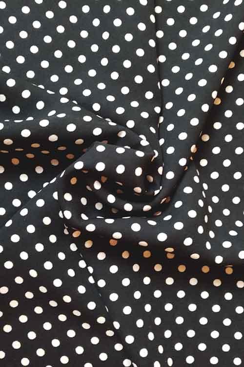 Polyester polka dot print (black/white)