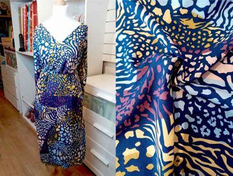 Linen/rayon mix (blue/multi print)