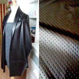 Polka dot textured leather alternative (black)