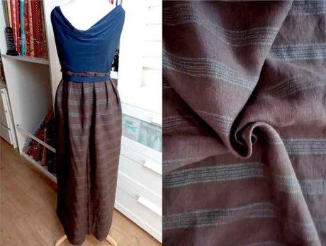 100% linen, earthen brown with metallic stripe