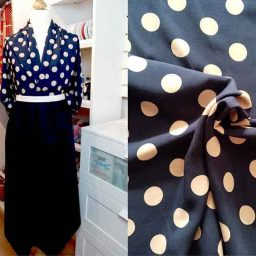 Giant polka dot viscose print (navy/beige)