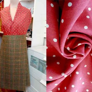 Brick red polka dot linen mix