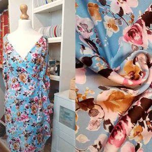 "Polyester print ""Wedgewood Amber Rose"""