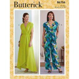 B6756 MISSES' DRESS, JUMPSUIT & SASH