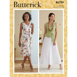 B6759 MISSES' DRESS, SASH & BELT