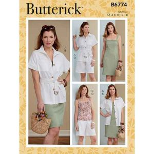 B6774 MISSES' JACKET, BELT, DRESS, TOP & SHORTS