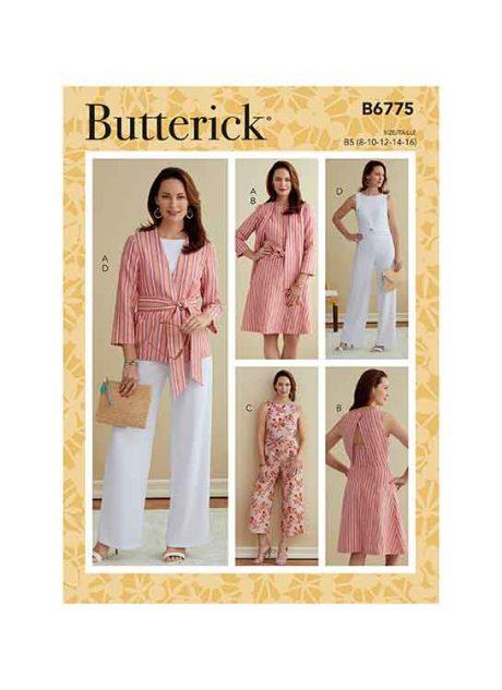 B6775 MISSES' & WOMEN'S JACKET, SASH, DRESS & JUMPSUIT