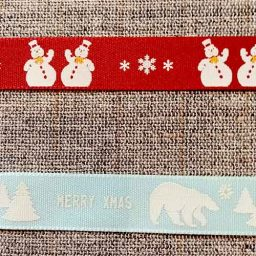 Festive snowman and polar bear ribbon (15mm)