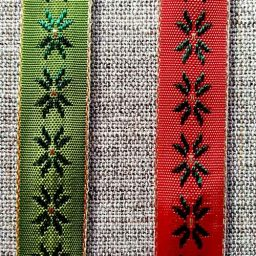15mm woven star pattern ribbon (red or green)