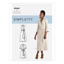 S9042 Misses' Wrap Dresses With Waist Tie