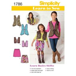 S1786 Learn to Sew Child's & Girls'  Vests and Skirt