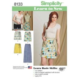 S8133 Women's Learn to Sew Wrap Skirts
