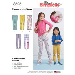 S8525 Child's and Girls' Learn to sew Knit Leggings