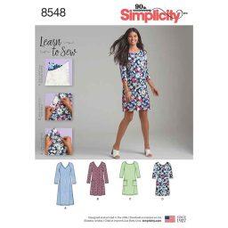 S8548 Women's'  Learn to sew Knit Dress